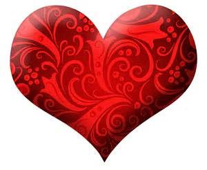 Red heart with ornaments png clipart picture
