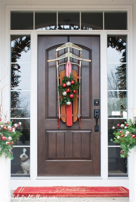 front doorway christmas decorations vintage sled front door decor the lilypad cottage