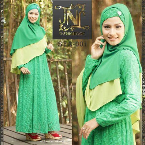 Gamis Syari Diandra Dress 2 sya 001 green baju muslim gamis modern
