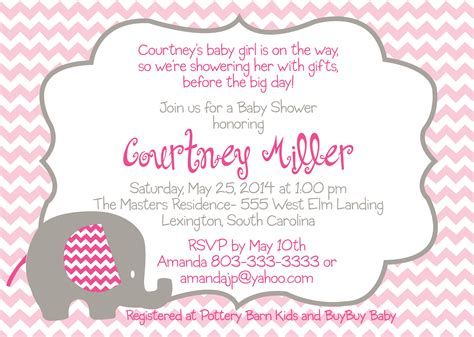 pink baby shower invitation templates baby shower pink elephant invitation design graphics