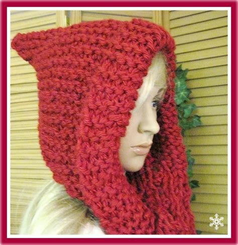 knitting pattern for scarf with bulky yarn little red riding hood hooded scarf in bulky yarn knitting