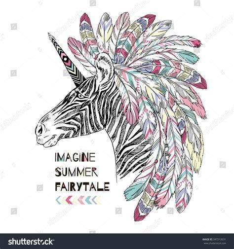 Unicorn Summer aztec zebra unicorn summer print stock vector