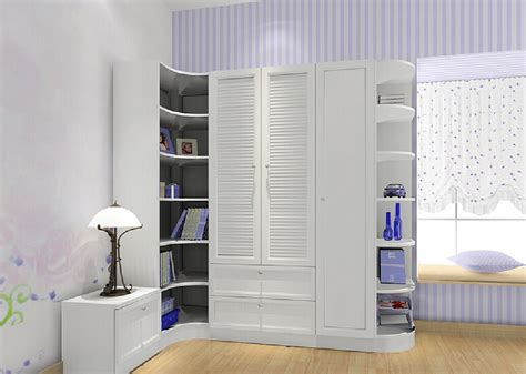 interior design bedroom with corner wall cabinet