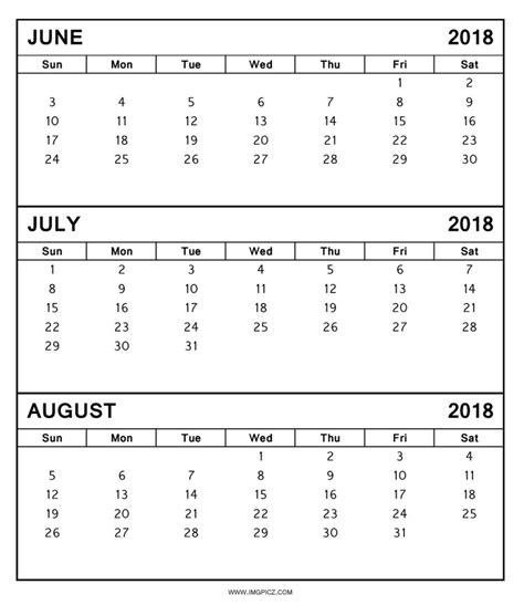 printable calendar july 2017 to june 2018 2018 july august calendar printable calendar 2018