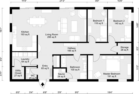 2 bedroom floor plans roomsketcher 2d floor plans roomsketcher