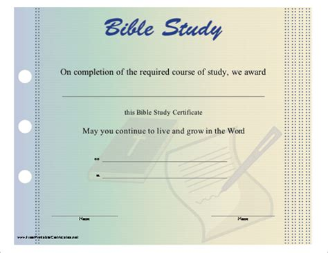 20 Church Certificate Templates Free Printable Sle Designs Bible Study Template