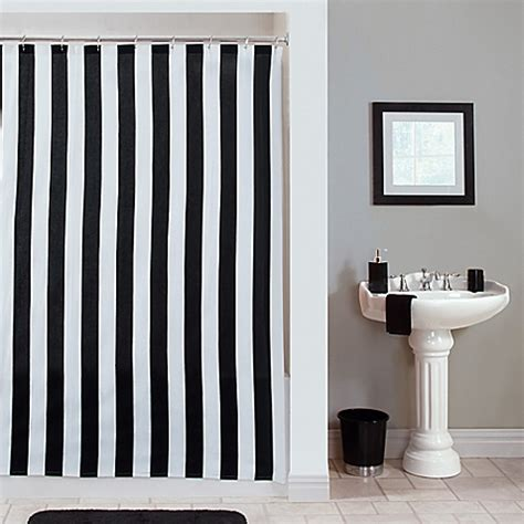 Black And White Vertical Striped Shower Curtain by Gramercy Stripe Shower Curtain Bed Bath Beyond