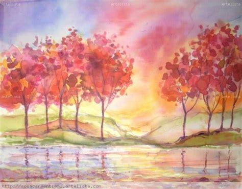 imagenes de paisajes en acuarela reflejos en la orilla rosa carpentieri artelista com
