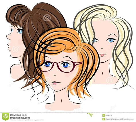 cute hairstyles vector three girls face stock vector illustration of emblem