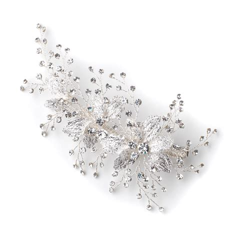Rhinestone Clear silver clear rhinestone floral vine bridal wedding hair
