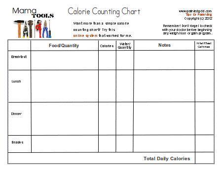 printable calorie journal free printable calorie chart using a printable calorie