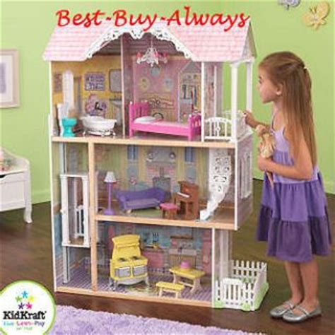 barbie big doll house big wooden doll house set large kit with furniture for barbie and kids