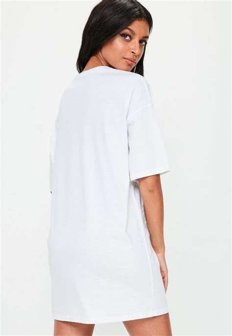 Oversized T Shirt Dress Dlcd 10 white oversized printed t shirt dress missguided