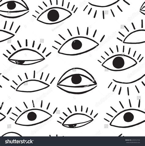 video eye pattern doodle eye seamless pattern stock vector illustration