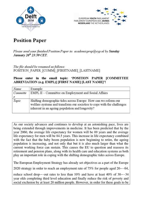how to write a position paper exle exle position paper by eyp the netherlands issuu
