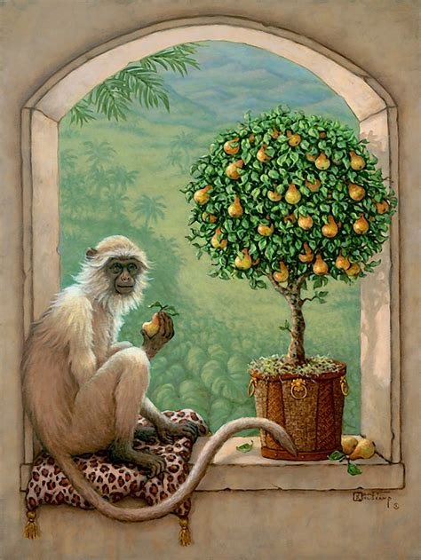 monkey painting monkey and pear tree by janet krusk original