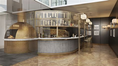 foyer restaurant photorealistic rendering services for a chic hotel