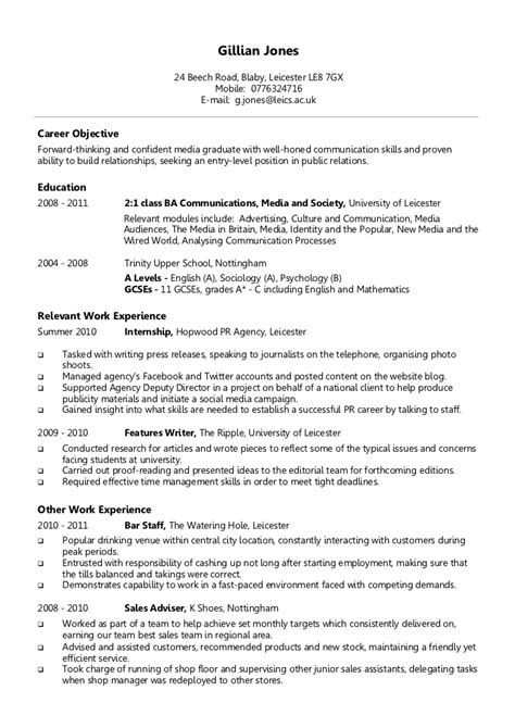 Cv Template Uk Student Exle Chronological Cv
