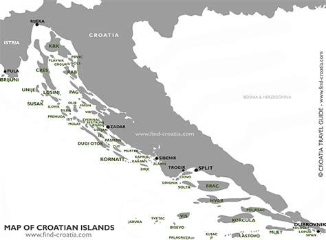 map of islands and croatian islands