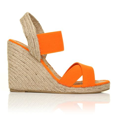 Wedges New new womens summer espadrille wedges wedge elastic s shoes size 3 8 ebay