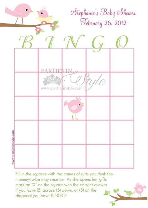 free templates for baby shower bingo baby shower bingo card template
