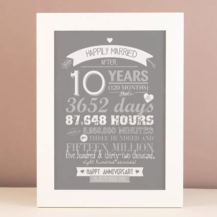 10 Year Anniversary Gift For Tin - 10th tin wedding anniversary gifts gettingpersonal co uk