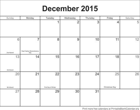 printable monthly calendar for december 2015 december 2015 printable calendar printable blank