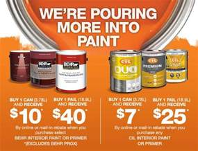 home depot rebate the home depot save up to 40 on behr and cil paint