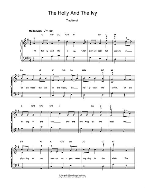 pattern in the ivy lyrics the holly and the ivy sheet music by christmas carol easy