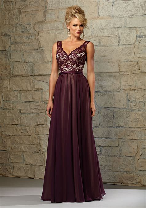 Chiffon Lace Dress lace and chiffon bridesmaid dress with scalloped v