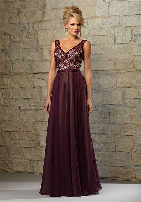 Lace Bridesmaid Dress lace and chiffon bridesmaid dress with scalloped v