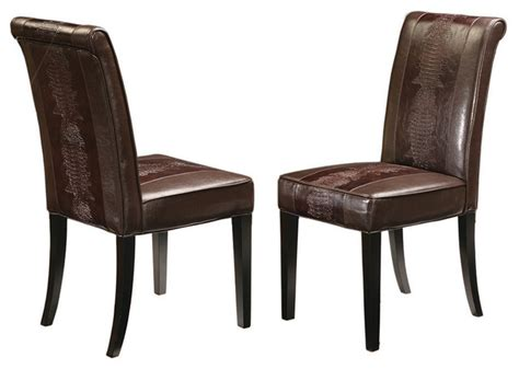 eclectic dining chairs horizon dining chair brown crocodile transitional
