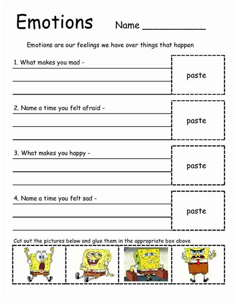 Emotions Worksheets empowered by them emotions