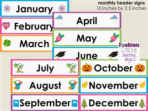Month Of The Calendar Month Headings Clipart