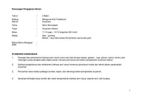 search results rancangan pengajaran tahunan dunia seni visual rph kraf tradisional anyaman kelarai mata bilis kssr thn 1