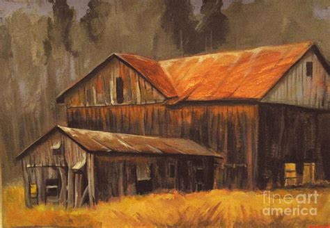Country Western Home Decor by Old Barns Painting By Carol Hart