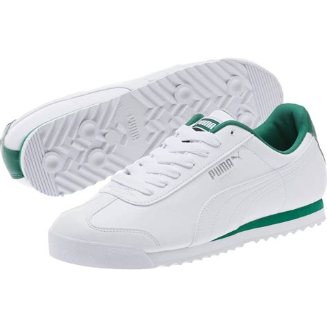 mens low top sneakers mens roma low top sneakers white verdant green