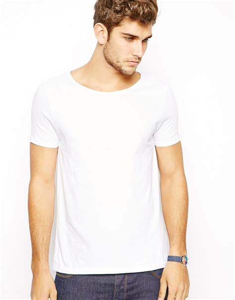 boat neck t shirts uk asos asos t shirt with wide boat neck at asos