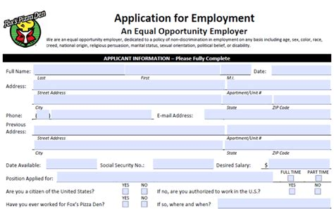 printable job applications for 16 year olds fox s pizza application pdf print out