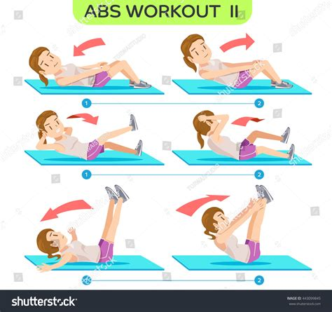 abs workout no2 six pack workout stock vector 443099845