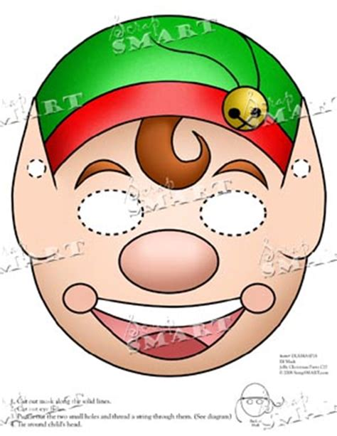printable christmas masks scrapsmart christmas mask elf downloadable