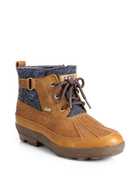 ugg lina leather wool laceup duck boots in brown lyst