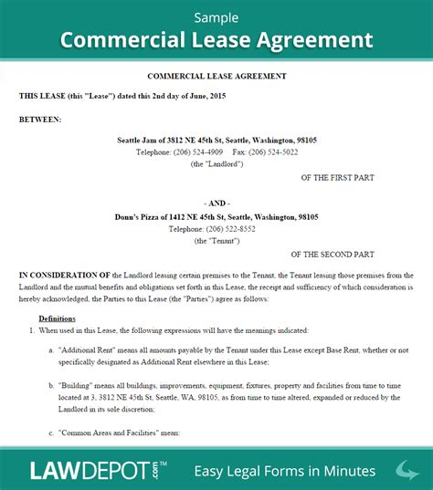 commercial tenancy agreement template commercial lease agreement free commercial lease form
