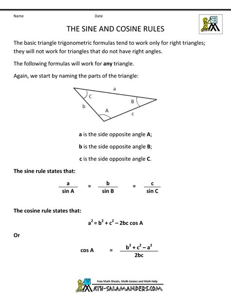 Sinus Formula geometry formulas triangles math 123