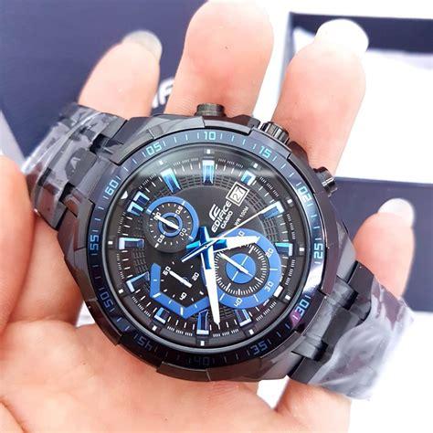 jual jam tangan pria merk casio edifice full black ori bm