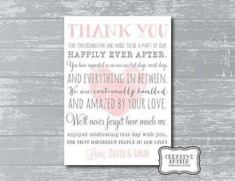wedding thank you poems custom thank you poem wedding signage printable modern