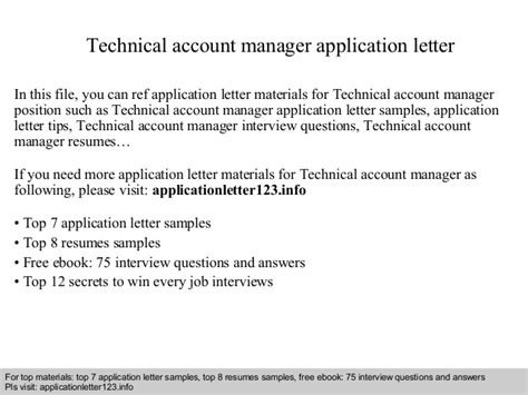 Application Letter Key Account Manager Technical Account Manager Application Letter