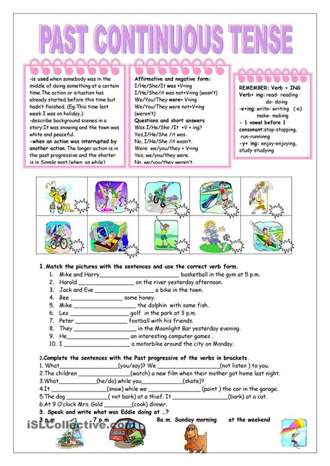 the pattern past continuous tense worksheets simple past tense worksheet exle