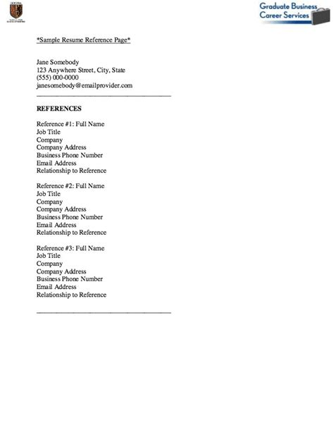 reference page format resume exle of reference page for resume resume ideas