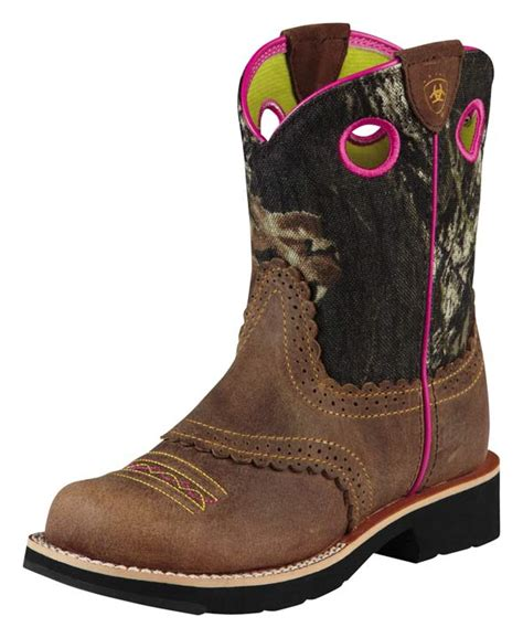 ariat camo boots ariat s fatbaby boots brown mossy oak camo